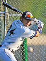 3 September 2008: Vermont Lake Monsters' outfielder Jake Dugger takes batting practice prior to a NY Penn-League game against the Tri-City Valley Cats at Centennial Field in Burlington, Vermont. The Lake Monsters defeated the Valley Cats 6-5 in extra innings. Mandatory Photo Credit: Ed Wolfstein Photo