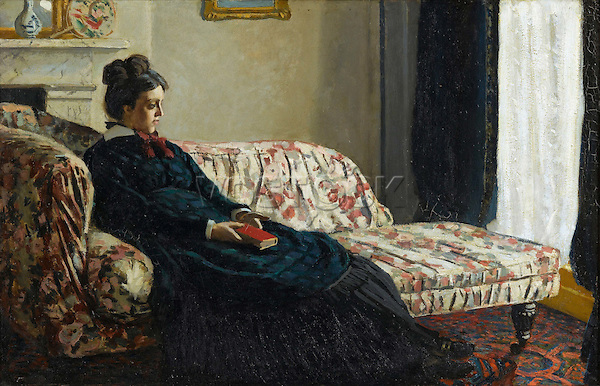 Claude Monet - Meditation, Mrs. Monet Sitting on a Sofa (1870-1871). Paris, musée d'Orsay.