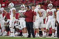 LOS ANGELES, CA - SEPTEMBER 11: Terry Heffernan strategizes on plays during a game between University of Southern California and Stanford Football at Los Angeles Memorial Coliseum on September 11, 2021 in Los Angeles, California.