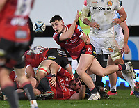 26th March 2021; Kingsholm Stadium, Gloucester, Gloucestershire, England; English Premiership Rugby, Gloucester versus Exeter Chiefs; Charlie Chapman of Gloucester passes from a ruck