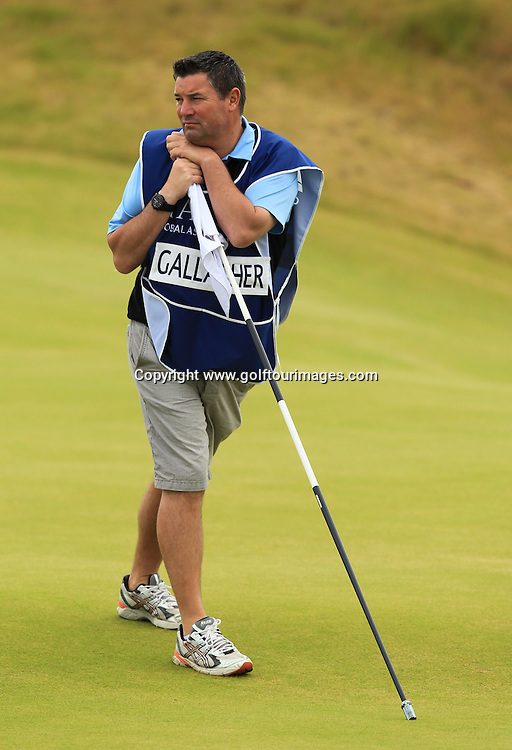 Stephen Gallacher's caddie  during the second round of the 2012 Aberdeen Asset Management Scottish Open being played over the links at Castle Stuart, Inverness, Scotland from 12th to 14th July 2012:  Stuart Adams www.golftourimages.com:13th July 2012