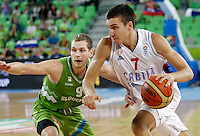 """Bogdan Bogdanovic of Serbia (R) in action during European basketball championship """"Eurobasket 2013"""" classification basketball game from 5th to 8th place between Serbia and Slovenia in Stozice Arena in Ljubljana, Slovenia, on September 19. 2013. (credit: Pedja Milosavljevic  / thepedja@gmail.com / +381641260959)"""