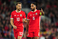 Aaron Ramsey (left) and Ashley Williams (right) of Wales in discussion during the UEFA Nations League B match between Wales and Ireland at Cardiff City Stadium in Cardiff, Wales, UK.September 6, 2018