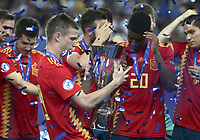 Spain's Dani Olmo holds the trophy at the end of the Uefa Under 21 Championship 2019 football final match between Spain and Germany at Udine's Friuli stadium, Italy, June 30, 2019. Spain won 2-1.<br /> UPDATE IMAGES PRESS/Isabella Bonotto