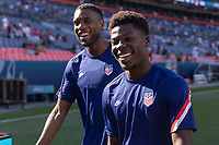 DENVER, CO - JUNE 3: Jordan Siebatcheu, Yunus Musah of the United States during a game between Honduras and USMNT at EMPOWER FIELD AT MILE HIGH on June 3, 2021 in Denver, Colorado.