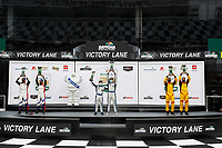 #21: Muehlner Motorsports America Duqueine M30-D08, P3-1: Moritz Kranz, Laurents Hoerr, #54: MLT Motorsports Ligier JS P320, P3-1: Dakota Dickerson, Josh Sarchet, #40: JDC MotorSports Duqueine M30-D08, P3-1: Keith Grant, David Grant, podium