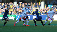 11 January 2020; Ulster's Marcell Coetzee runs at Camille Lopez during the Heineken Champions Cup Pool 3 Round 5 match between ASM Clermont Auvergne and Ulster at Stade Marcel-Michelin in Clermont-Ferrand, France. Photo by John Dickson/DICKSONDIGITAL