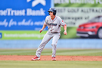 Lakewood BlueClaws center fielder Mickey Moniak (22) leads off second base during a game against the Beer City Tourists at McCormick Field on June 1, 2017 in Asheville, North Carolina. The Tourists defeated the BlueClaws 8-5. (Tony Farlow/Four Seam Images)