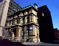 Montreal, 1999-07-archive. The Molson Bank building ; one of Montreal architectural jewel was bought recently by Time Equities of New York. The building located at 288 St-Jacques West in the former financial district was built in 1866 and represent a page in Canada's economic history. A property of the Molson family (Canadien hockey club and Moslon Breweries), the Molson Bank was bought by the Bank of Montreal more that 20 years ago.This part of Montreal is often used for movie shootings because it can looks  like chicago or downtown New York<br /> Photo :  (c) Pierre Roussel, 1999<br /> KEYWORDS :  Molson, Time Equities, Montreal