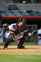 Florida Fire Frogs catcher Alex Jackson (25) awaits the pitch during a game against the Dunedin Blue Jays on April 10, 2017 at Osceola County Stadium in Kissimmee, Florida.  Florida defeated Dunedin 4-0.  (Mike Janes/Four Seam Images)