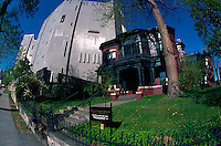 Fisheye lens view of the exterior facade of the Byers-Evans House and Museum. Denver, Colorado.