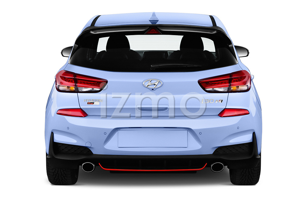 Straight rear view of a 2018 Hyundai i30 N Performance Pack Select Doors Door Hatchback stock images