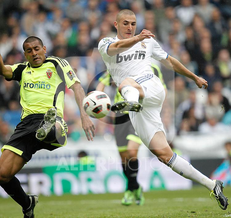 Real Madrid's Karim Benzema during Spanish League match on April 30, 2011...Photo: Cebolla Cid-Fuentes / ALFAQUI