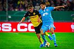 09.08.2019, Merkur Spiel-Arena, Düsseldorf, GER, DFB Pokal, 1. Hauptrunde, KFC Uerdingen vs Borussia Dortmund , DFB REGULATIONS PROHIBIT ANY USE OF PHOTOGRAPHS AS IMAGE SEQUENCES AND/OR QUASI-VIDEO<br /> <br /> im Bild | picture shows:<br /> Zweikampf zwischen Thorgan Hazard (Borussia Dortmund #23) und Roberto Rodriguez (KFC Uerdingen #11), <br /> <br /> Foto © nordphoto / Rauch
