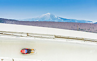 5 December 2014: Florian Berkes, sliding for Germany, slides through Curve Number 14 on his first run, ending the day with a 14th place finish and a combined 2-run time of 1:43.744 in the Men's Competition at the Viessmann Luge World Cup, at the Olympic Sports Track in Lake Placid, New York, USA. Mandatory Credit: Ed Wolfstein Photo *** RAW (NEF) Image File Available ***