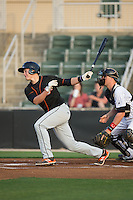 Ryan Mountcastle (4) of the Delmarva Shorebirds follows through on his swing against the Kannapolis Intimidators at Kannapolis Intimidators Stadium on April 21, 2016 in Kannapolis, North Carolina.  The Intimidators defeated the Shorebirds 9-3.  (Brian Westerholt/Four Seam Images)