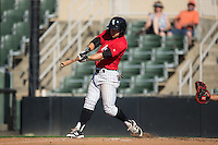 Tyler Sullivan (5) of the Kannapolis Intimidators follows through on his swing against the Greenville Drive at Intimidators Stadium on June 7, 2016 in Kannapolis, North Carolina.  The Drive defeated the Intimidators 4-1 in game one of a double header.  (Brian Westerholt/Four Seam Images)