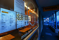 Mojo Coffee cafe in Thorndon at 6.30am, Wednesday as New Zealand (outside of Auckland) switches down to Level 3 lockdown for the COVID-19 pandemic in Wellington, New Zealand on Wednesday, 1 September 2021.