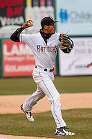 Wisconsin Timber Rattlers third baseman Jake Gatewood (2) throws to first during a Midwest League game against the Beloit Snappers on April 10th, 2016 at Fox Cities Stadium in Appleton, Wisconsin.  Wisconsin defeated Beloit  4-2. (Brad Krause/Four Seam Images)