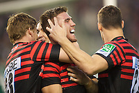 20121020 Copyright onEdition 2012©.Free for editorial use image, please credit: onEdition..Will Fraser (centre) is congratulated by team mates David Strettle (left) and Joel Tomkins of Saracens during the Heineken Cup Round 2 match between Saracens and Racing Metro 92 at the King Baudouin Stadium, Brussels on Saturday 20th October 2012 (Photo by Rob Munro)..For press contacts contact: Sam Feasey at brandRapport on M: +44 (0)7717 757114 E: SFeasey@brand-rapport.com..If you require a higher resolution image or you have any other onEdition photographic enquiries, please contact onEdition on 0845 900 2 900 or email info@onEdition.com.This image is copyright the onEdition 2012©..This image has been supplied by onEdition and must be credited onEdition. The author is asserting his full Moral rights in relation to the publication of this image. Rights for onward transmission of any image or file is not granted or implied. Changing or deleting Copyright information is illegal as specified in the Copyright, Design and Patents Act 1988. If you are in any way unsure of your right to publish this image please contact onEdition on 0845 900 2 900 or email info@onEdition.com