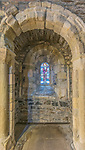 UK, Scotland,  Isle of Iona, Iona Abbey, Stained glass in the Abbey Church