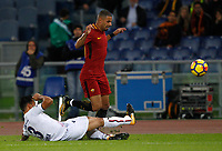Roma's Bruno Peres, right, is tackled by Bologna's  Giancarlo Gonzalez during the Serie A football match between Roma and Bologna at Rome's Olympic stadium, October 28, 2017.<br /> UPDATE IMAGES PRESS/Riccardo De Luca