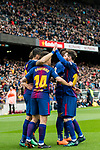 Luis Alberto Suarez Diaz of FC Barcelona celebrates with teammates during the La Liga 2017-18 match between FC Barcelona and Valencia CF at Camp Nou on 14 April 2018 in Barcelona, Spain. Photo by Vicens Gimenez / Power Sport Images