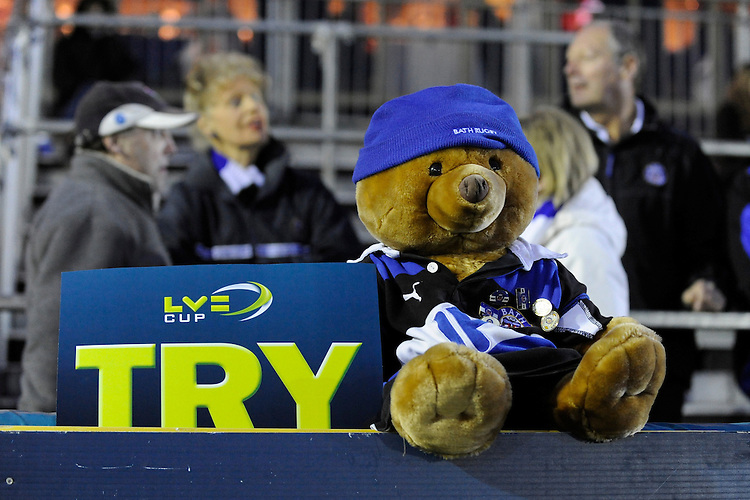 Bath fans bring a mascot to the LV= Cup semi final match between Bath Rugby and Leicester Tigers at The Recreation Ground, Bath (Photo by Rob Munro, Fotosports International)