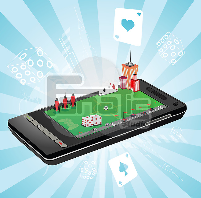 Illustrative representation showing the use of a mobile phone as a gaming device
