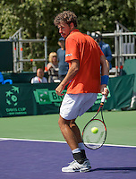 Moscow, Russia, 17 th July, 2016, Tennis,  Davis Cup Russia-Netherlands, Robin Haase (NED) does a behind the back hand<br /> Photo: Henk Koster/tennisimages.com