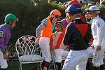 June 7, 2014: Belmont Stakes jockeys including, from left, Victor Espinoza, Rosie Napravnik and Rajiv Maragh, gather for a group photo before heading to the paddock. Tonalist, trained by Christophe Clement and ridden by Joel Rosario wins the 146th running of the Grade I Belmont Stakes at Belmont Park , Elmont, NY.   ©Joan Fairman Kanes/ESW/CSM