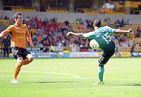 Pictured: Saturday 30 July 2016<br /> Re: Wolverhampton Wanderers v Swansea City FC, pre-season friendly at the Molineux Stadium, England, UK<br /> Swan's Wayne Routledge tees up his shot to score the first goal