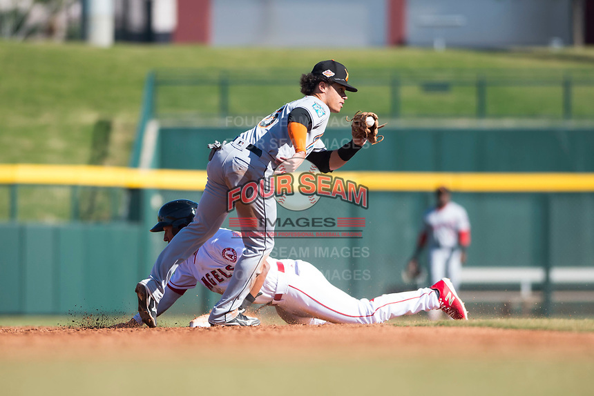 Salt River Rafters second baseman Bryson Brigman (15), of the Miami Marlins organization, shows the ball to the umpire after applying the tag to Jahmai Jones (9) on a stolen base attempt during an Arizona Fall League game against the Mesa Solar Sox at Sloan Park on November 9, 2018 in Mesa, Arizona. Mesa defeated Salt River 5-4. (Zachary Lucy/Four Seam Images)