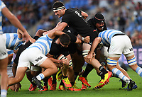 12th September 2021; Cbus Super Stadium, Robina, Queensland, Australia; Rugby International series, New Zealand versus Argentina:  Luke Jacobson up high as New Zealand drive forward in a pack