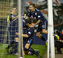 Dundee's Jim McAlister is congratulated after the first goal.