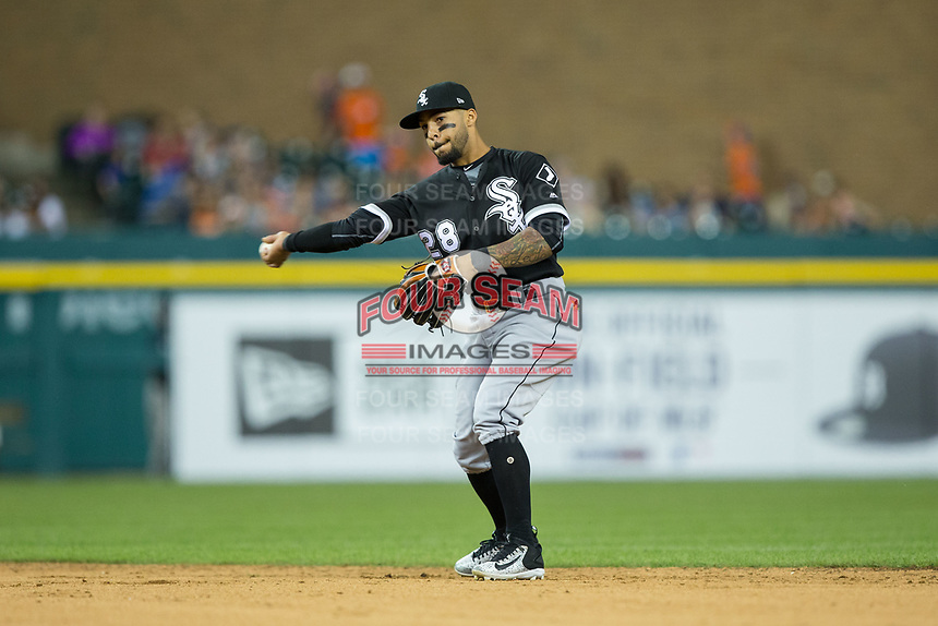 Chicago White Sox second baseman Leury Garcia (28) makes a throw to first base against the Detroit Tigers at Comerica Park on June 2, 2017 in Detroit, Michigan.  The Tigers defeated the White Sox 15-5.  (Brian Westerholt/Four Seam Images)