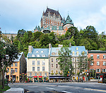 A photo of Quebec City taken in early morning from the Rue du Marché-Champlain. This shows that Quebec is a city on two levels: the lower city, along the St. Lawrence River waterfront, was the site of the original settlement (founded 1608), while the upper city contains, among many other things, the Château Frontenac.