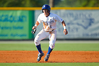 Gabe MacDougall #6 of the Burlington Royals takes his lead off of second base against the Princeton Rays at Burlington Athletic Stadium July 11, 2010, in Burlington, North Carolina.  Photo by Brian Westerholt / Four Seam Images
