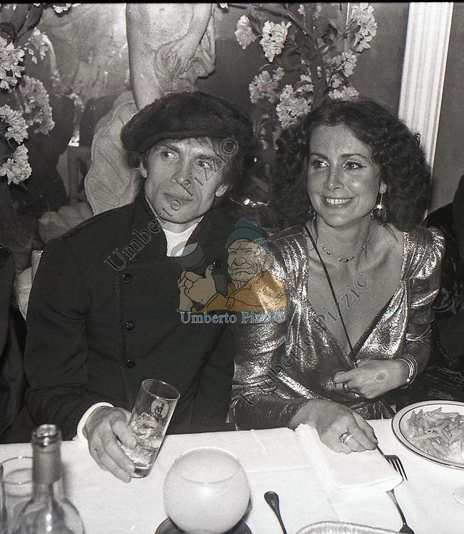 MARINA RIPA DI MEANA CON RUDOLF NUREYEV<br /> BELLA BLU ROMA 1980