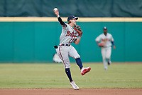 Rome Braves second baseman Cody Milligan (55) makes a throw to first base against the Greensboro Grasshoppers at First National Bank Field on May 16, 2021 in Greensboro, North Carolina. (Brian Westerholt/Four Seam Images)