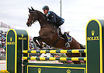 Niklas Lindback and Mister Pooh of Sweden compete in the final stadium jumping round of the FEI  World Eventing Championship at the Alltech World Equestrian Games in Lexington, Kentucky.