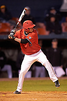 Ball State Cardinals center fielder Matt Eppers (35) at bat during a game against the Wisconsin-Milwaukee Panthers on February 26, 2016 at Chain of Lakes Stadium in Winter Haven, Florida.  Ball State defeated Wisconsin-Milwaukee 11-5.  (Mike Janes/Four Seam Images)