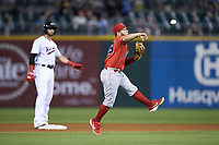 Louisville Bats shortstop Alberti Chavez (29) makes a throw to first base against the Charlotte Hornets at BB&T BallPark on June 22, 2019 in Charlotte, North Carolina. The Hornets defeated the Bats 7-6. (Brian Westerholt/Four Seam Images)