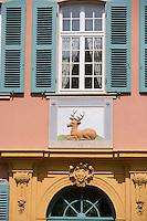 Europe/Allemagne/Bade-Würrtemberg/ env d'Heidelberg /Schwetzingen: détail facade d'une maison