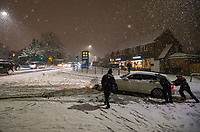 Snow cause road delays in High Wycombe at Booker, High Wycombe, England on 22 January 2019. Photo by Andy Rowland.
