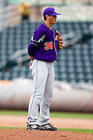 Kyle Lloyd (35) of the Evansville Purple Aces stands on the mound during a game against the Missouri State Bears at Hammons Field on May 12, 2012 in Springfield, Missouri. (David Welker/Four Seam Images)