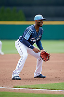 Columbus Clippers third baseman Yandy Diaz (11) during a game against the Gwinnett Stripers on May 17, 2018 at Huntington Park in Columbus, Ohio.  Gwinnett defeated Columbus 6-0.  (Mike Janes/Four Seam Images)