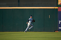 Lancaster JetHawks center fielder Forrest Wall (7) pursues a fly ball during a California League game against the Inland Empire 66ers at San Manuel Stadium on May 19, 2018 in San Bernardino, California. Inland Empire defeated Lancaster 9-6. (Zachary Lucy/Four Seam Images)