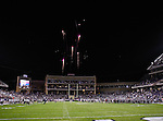 Fireworks go off after the game between the Grambling State Tigers and the TCU Horned Frogs  at the Amon G. Carter Stadium in Fort Worth, Texas, celebrating TCU's victory and Head Coach, Gary Pattersons, 110 game wins. TCU defeats Grambling State 59 to 0.