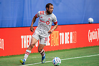 LAKE BUENA VISTA, FL - JULY 13: Nick DeLeon #18 of Toronto FC dribbles the ball during a game between D.C. United and Toronto FC at Wide World of Sports on July 13, 2020 in Lake Buena Vista, Florida.